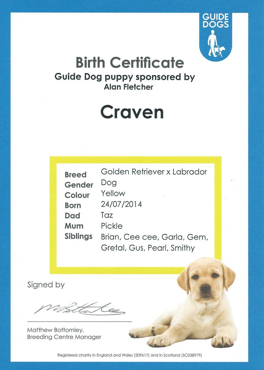 Craven Birth Certificate